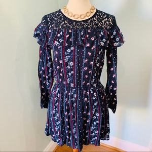 NWT Abercrombie Kids Print Dress with Lace Detail